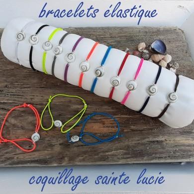 Bracelet élastique coquillage Sainte Lucie - SBR009