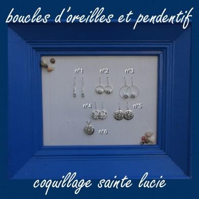 Boucle d'oreille pendante coquillage Sainte Lucie ovale 10*12mm - SBO007