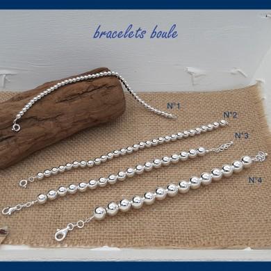 Bracelet boule en argent massif