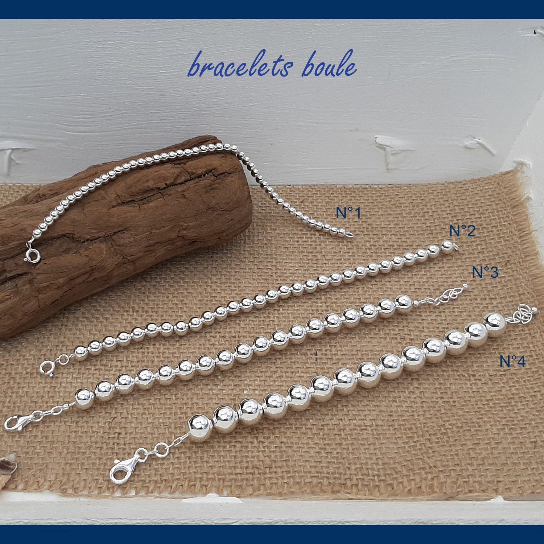Bracelet boule en argent massif - BRB002