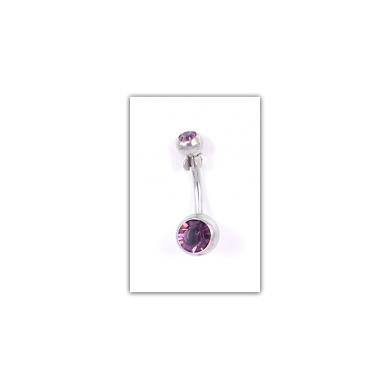 Piercing nombril Strass double violet - PER017