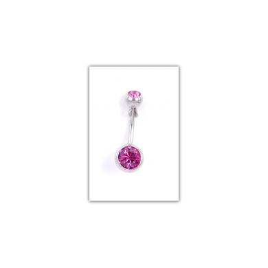 Piercing nombril Strass double fushia - PER021