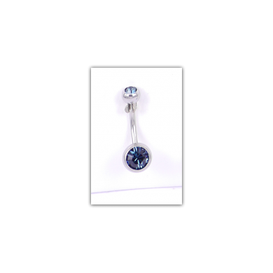 Piercing nombril Strass double bleu gris - PER022