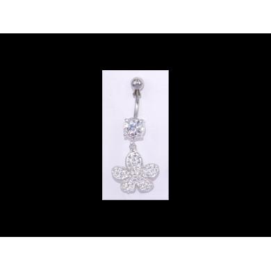 Piercing nombril Strass motif fleur - PER030
