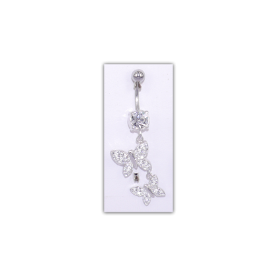 Piercing nombril Strass motif papillon - PER033